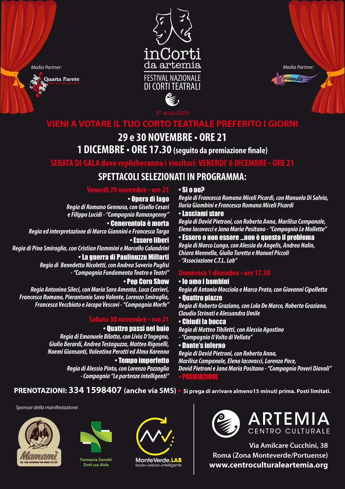 InCorti da Artemia – Festival Nazionale di Corti Teatrali – 5° anno